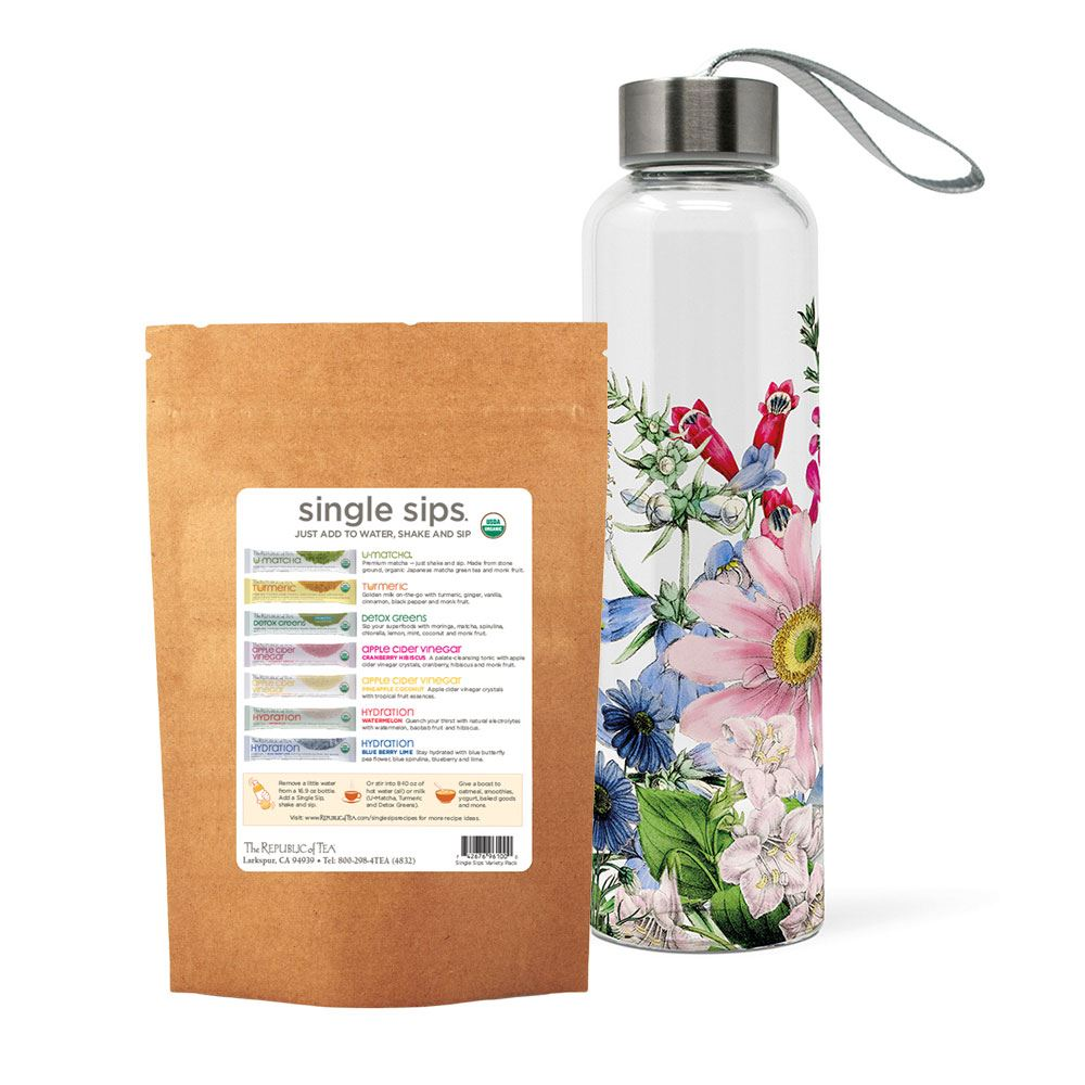 Glass Cold Water Bottle and Single Sip Sampler Custom Gift Set