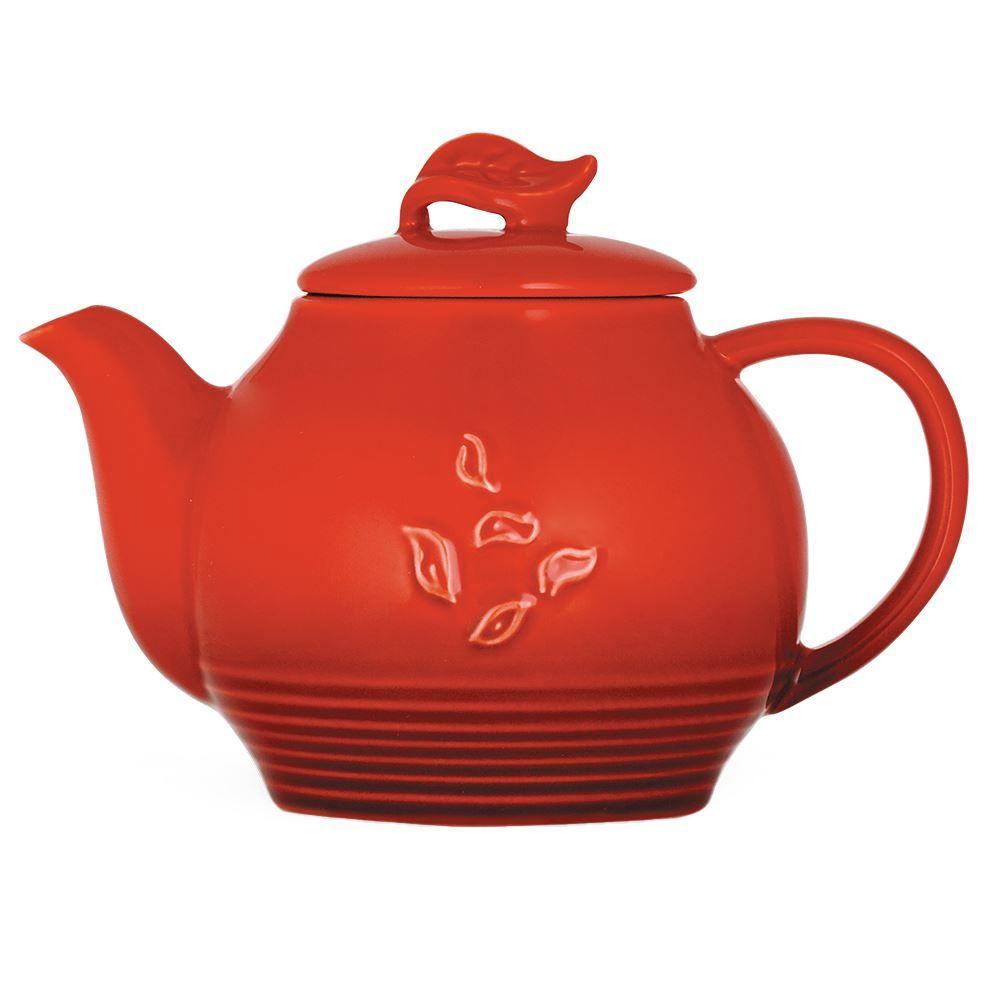 Red Dancing Leaves Teapot