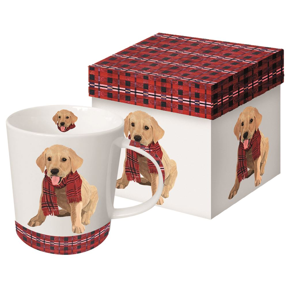 Puppy in a Plaid Scarf Boxed Mug