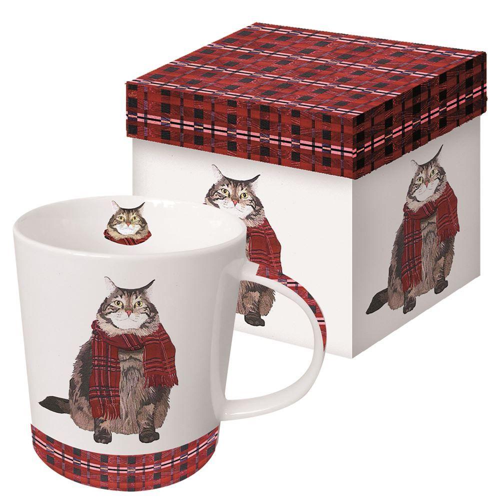 Kitty in a Plaid Scarf Boxed Mug