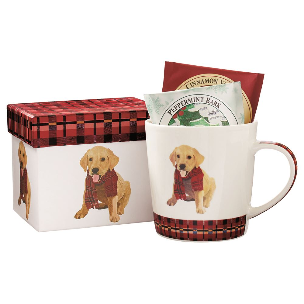 Puppy in Plaid Boxed Mug with Overwraps