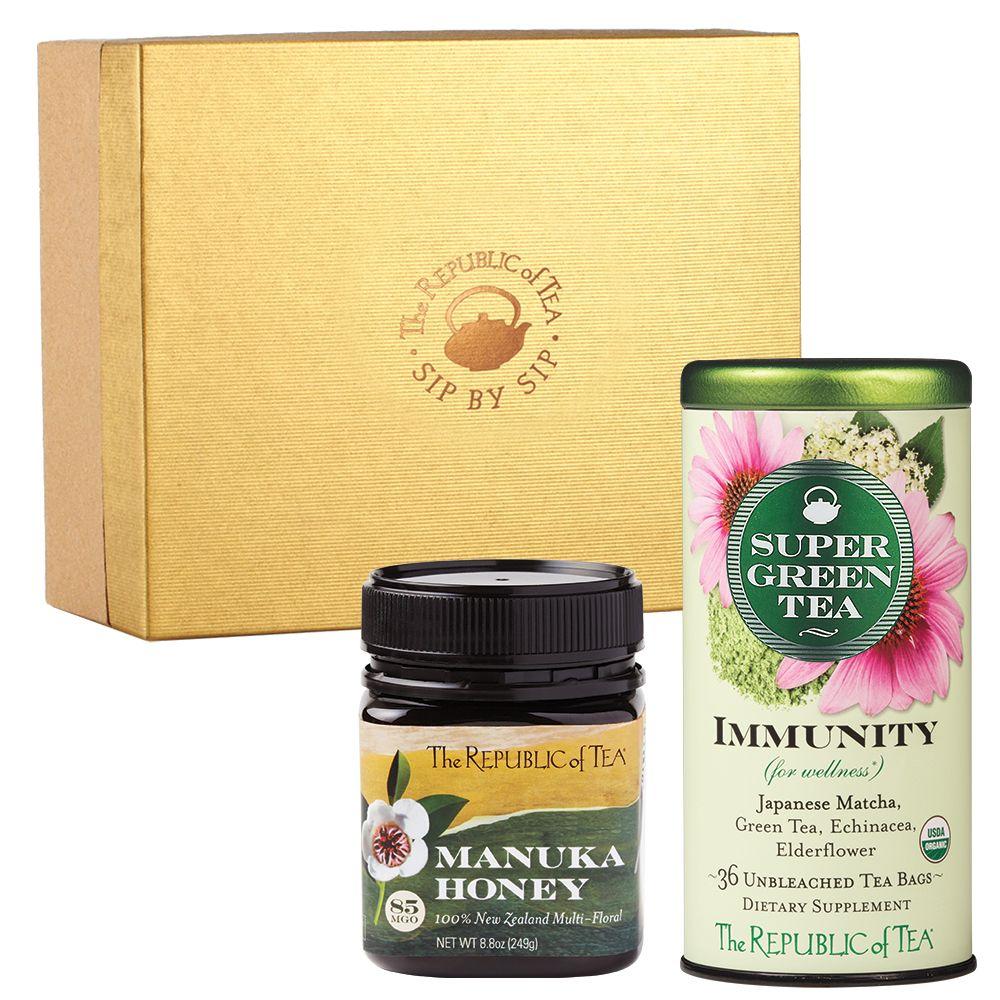 Immunity SuperGreen Tea and Manuka Honey Gift Set