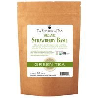 Organic Strawberry Basil Green Round Tea Bags