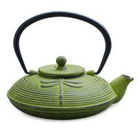 Green Dragonfly Cast Iron Teapot