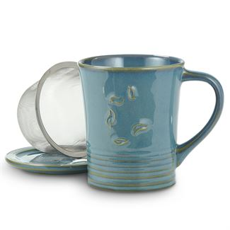 Sky Blue Dancing Leaves Mug