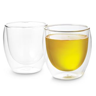 9 oz Pavina Double Wall Glass Cups (Set of 2)