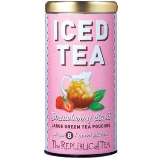 Organic Strawberry Basil Green Tea Large Iced Tea Pouches