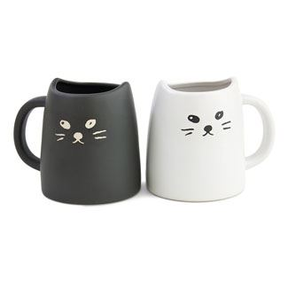 Black and White Cat Mug Set