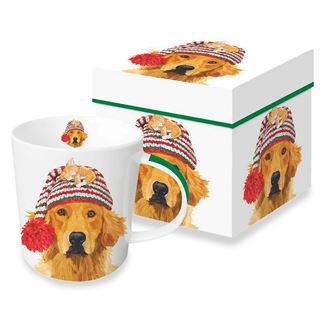 Golden Retriever in Knit Hat