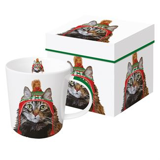 Tabby Cat in Knit Hat Boxed Mug