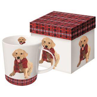 Puppy in a Plaid Scarf Boxed Mug