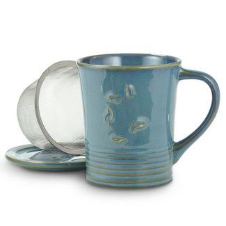 Sky Blue Dancing Leaves Mug