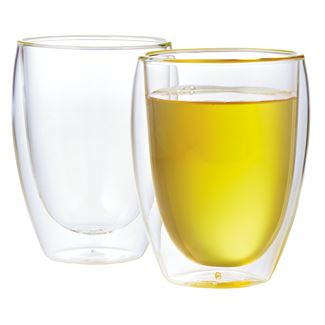 12 oz Pavina Double Wall Glass Cups (Set of 2)