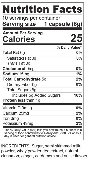 Chai Capsules Nutrition label